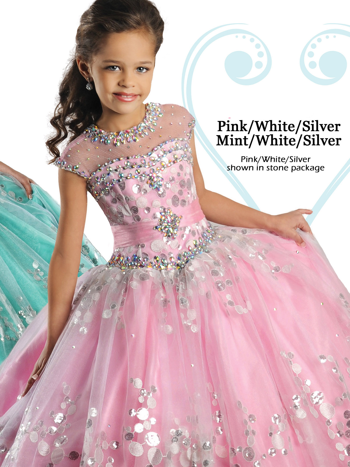 Youthful Ritzee Girls Beaded Bodice Pageant Gown 7020