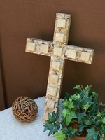 Wall Cross, - Granite with Travertine Squares