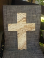 Wide Wall Cross-  Ivory and Gold