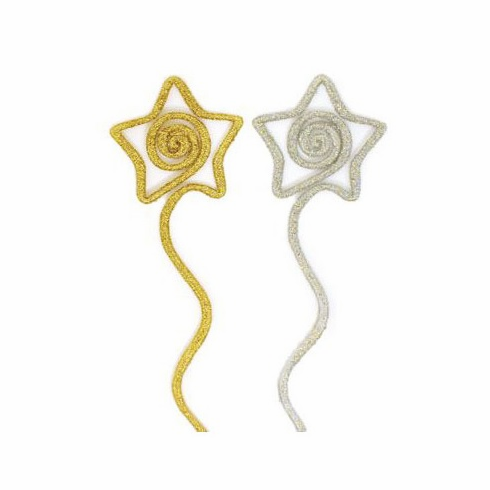 "12"" Silver & Gold<br>Glittered Star Picks <br>25/Package"