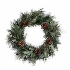 "20"" Long Pine <br>Mixed Wreath <br>w/Cones"