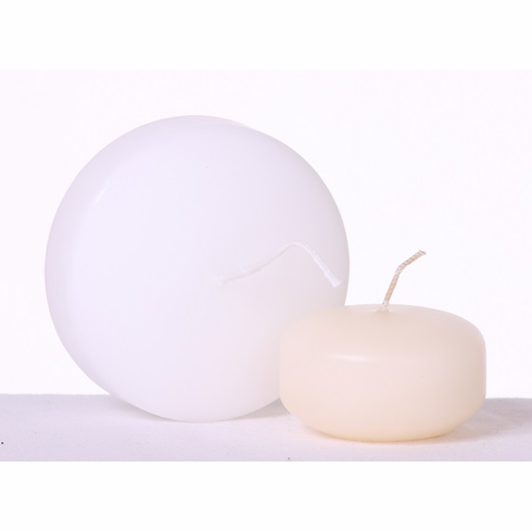 "3"" Floating Disc Candle<br>Ivory or White<br>36/Package"