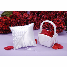Flower Girl Basket<br>and Wedding Pillow Set