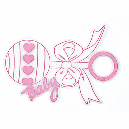 Pink Baby Rattle Picks <br>12/Package