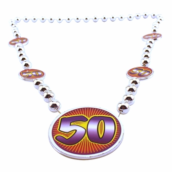 Silver 50th Birthday beads