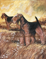"""Airedale Terrier """"Field Pair""""  Limited Edition Print"""