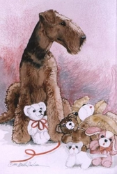 """Airedale Terrier """"Love My Teddies"""" Limited Edition Print"""