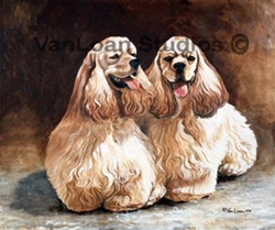 "American Cocker Spaniel Art ""Buff Pair""  Limited Edition Print"