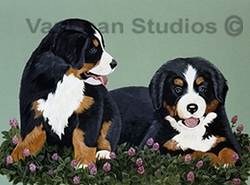 """Bernese Mountain Dog """"Puppies in Clover"""""""