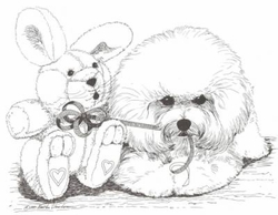 "Bichon Frise ""Puppy and Toy Rabbit"" Limited Edition Print"