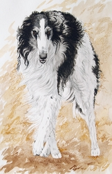 "Borzoi ""Black and White Moving Dog"""