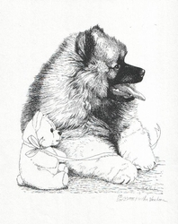 "Keeshond ""Puppy and Teddy"""