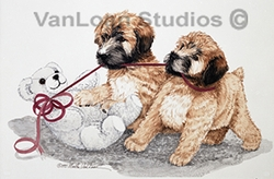 "Soft Coated Wheaten Terrier ""Pups And Teddy"""