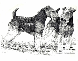 """Welsh Terriers """"Standing Pair"""" Limited Edition Print"""