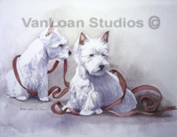 """West Highland White Terrier """"Mischief Makers with Ribbons"""""""