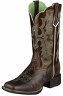 Ariat Womens Tombstone Chocolate Chip Brown Patent Leather Boots 10005867