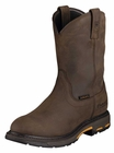 Ariat Workhog Pull-On H2O Oily Distressed Brown Leather Boots 10001198