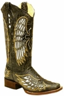 Corral Ladies Black/Silver Gold Wing And Cross Square Toe A1986