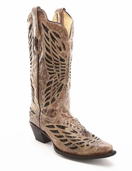Corral Ladies Bronze/Black Sequin Crystal Butterfly Cowgirl Boots R1211