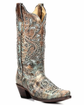 Corral Ladies Bronze/Turquoise Glitter Inlay R1255