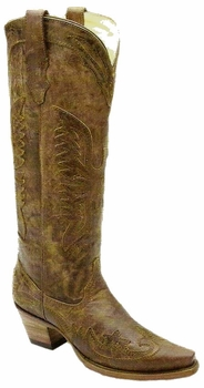 Corral Ladies Vintage Brown/Brown Tall Eagle Overlay R2295