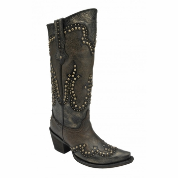 Corral Women's Black and Gold Overlay Boots C2884