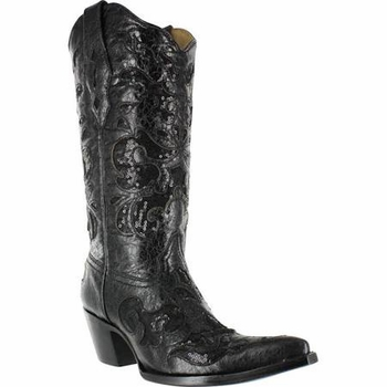 Corral Women's Black Goat Sequin Inlay Boot A1070