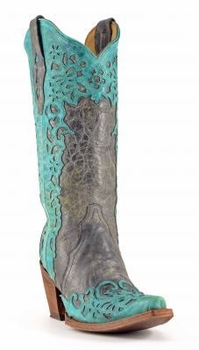 Corral Women's Black/Turquoise Laser Overlay Boot - A2800