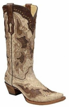 Corral Women's Bone & Brown Ostrich Leg Inlay A2938