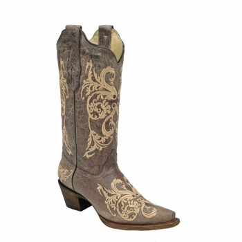Corral Women's Brown & Beige Dahlia Embroidery Boots A2920