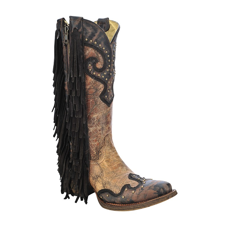 Corral Women's Brown/Chocolate Studs & Side Fringe Boot - A3149