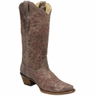 Corral Women's Brown & Red Back Cross & Crystals A2905