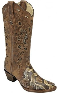 Corral Women's Brown & Tan Python Inlay A2911