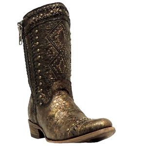 Corral Women's Metallic Gold Ethnic Embroidered Boot C2922