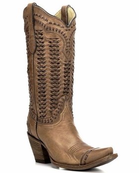 Corral Women's Sand Braided Shaft Leather Boot A2971