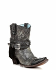 Corral Women's Silver Fringe Studded Ankle Boot - C2879