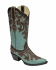 Corral Women's Turquoise & Chocolate Inlay with Studs Boot G1184