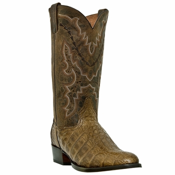 "Dan Post Mens ""Birmingham"" Exotic Western Boots Genuine Bay Apache Flank Caiman DP2392"