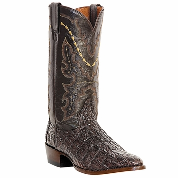"Dan Post Mens ""Birmingham"" Exotic Western Boots Genuine Chocolate Caiman Flank Cut Foot DP2386"