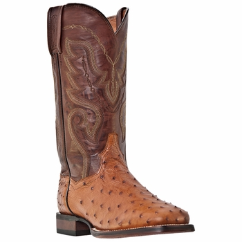 "Dan Post Mens ""Chandler"" COWBOY CERTIFIED Boots Cognac Full Quill Ostrich DP2982"