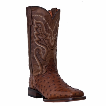 "Dan Post Mens ""Chandler"" COWBOY CERTIFIED Boots Saddle Brown Full Quill Ostrich DP2984"