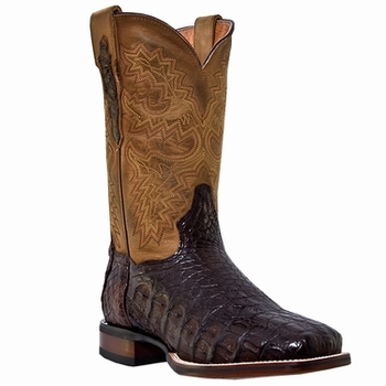 "Dan Post Mens ""Denver"" COWBOY CERTIFIED Boots Genuine Chocolate Caiman Foot DP2806"