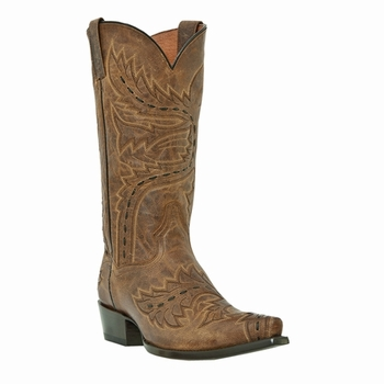 "Dan Post Mens ""Sidewinder"" Western Boots Tan Mad Cat Leather DP2233"