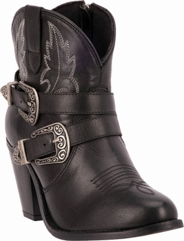 "Dingo Women's ""Bridget"" Black Milled Leather Double Buckle & Zipper Boot DI-760"
