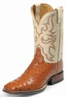 Justin Boots Mens AQHA Remuda Western Cognac Full Quill Ostrich Boots 8502