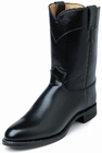 Justin Boots Mens Black Melo-Veal Leather Uniform Roper Boots 3170