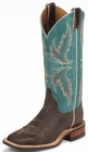 Justin Ladies Bent Rail Series Chocolate And America Blue Cowgirl Boots BRL335