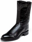 Justin Mens Boots Exotics Collection Black Smooth Ostrich Roper Boots 3172