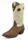 Justin Mens Stampede Punchy Dark Brown Oiled Grubstake With Saddle Boots 2521