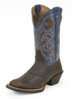 Justin Mens Stampede Punchy Dark Brown Rawhide With Saddle Boots 2520